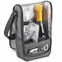 2 Person Wine Travel Carrier Bag - With 2 Plastic Wine Glasses & Corkscrew Bottle Opener, Cooler Compartment Keeps Wine Chilled