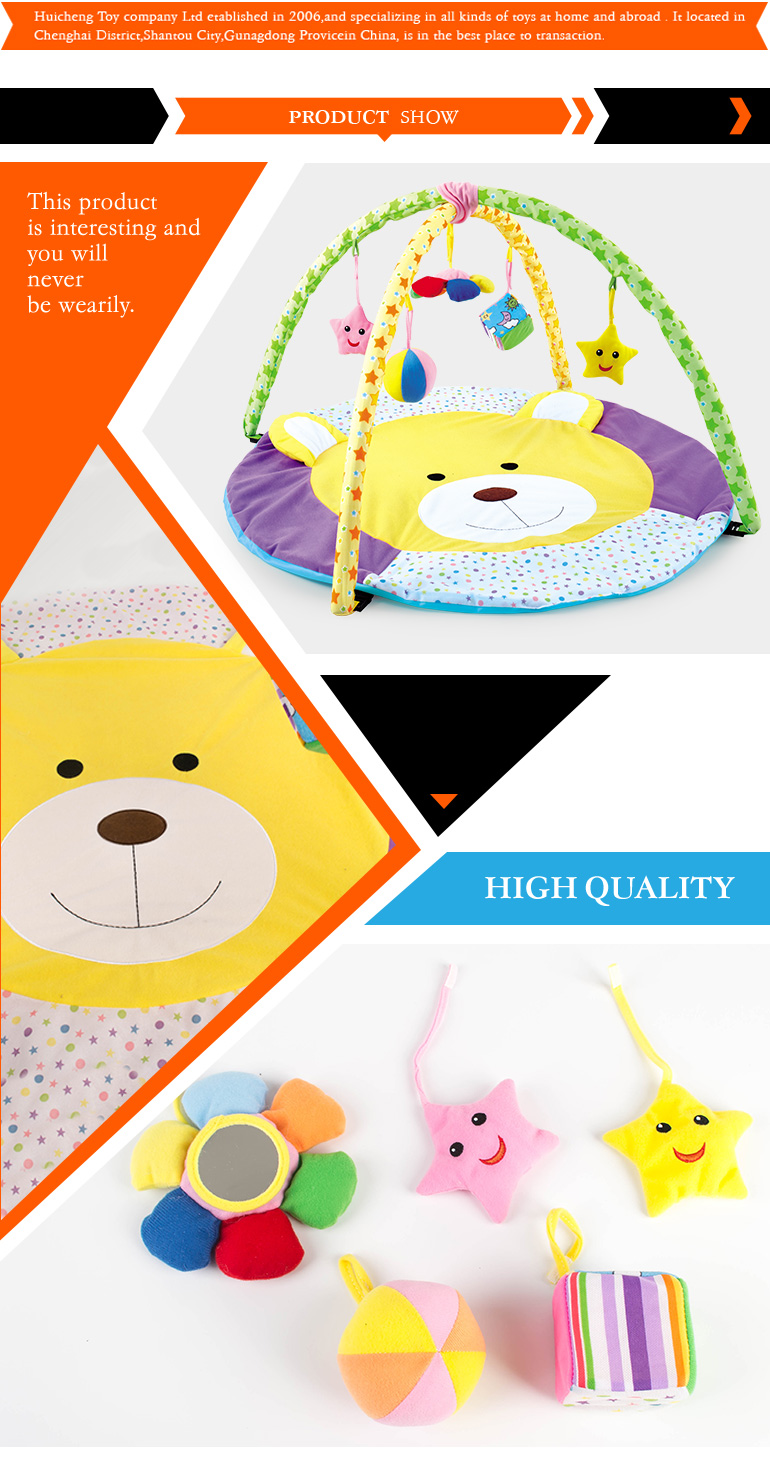 Comfortable funny design wholesale play mats babies with BB whistle and bell