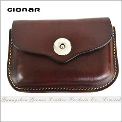 The Unique Design Handmade Vegetable Tanned Leather Multi Functional Credit Card Business Case with Contrast Thick Stitching