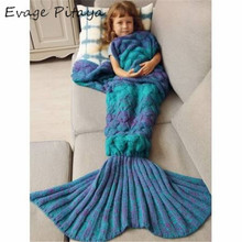 Sofa Fish Scale Design Knitted Multicolor Warmth kids mermaid blanket tail