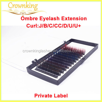 OEM private label pacakging eyelash extensions, two tone ombre lashes extensions