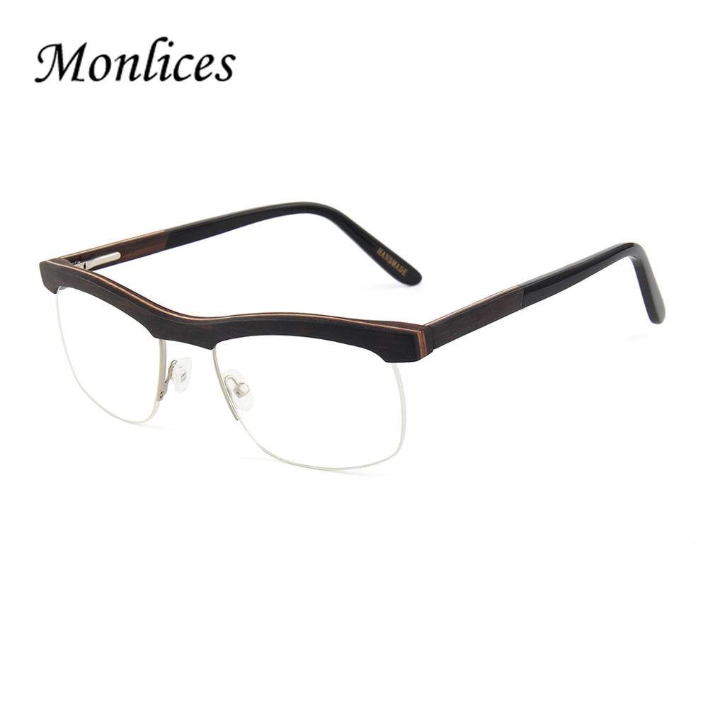 Gentleman optical eyeglasses wooden rimless glasses frame