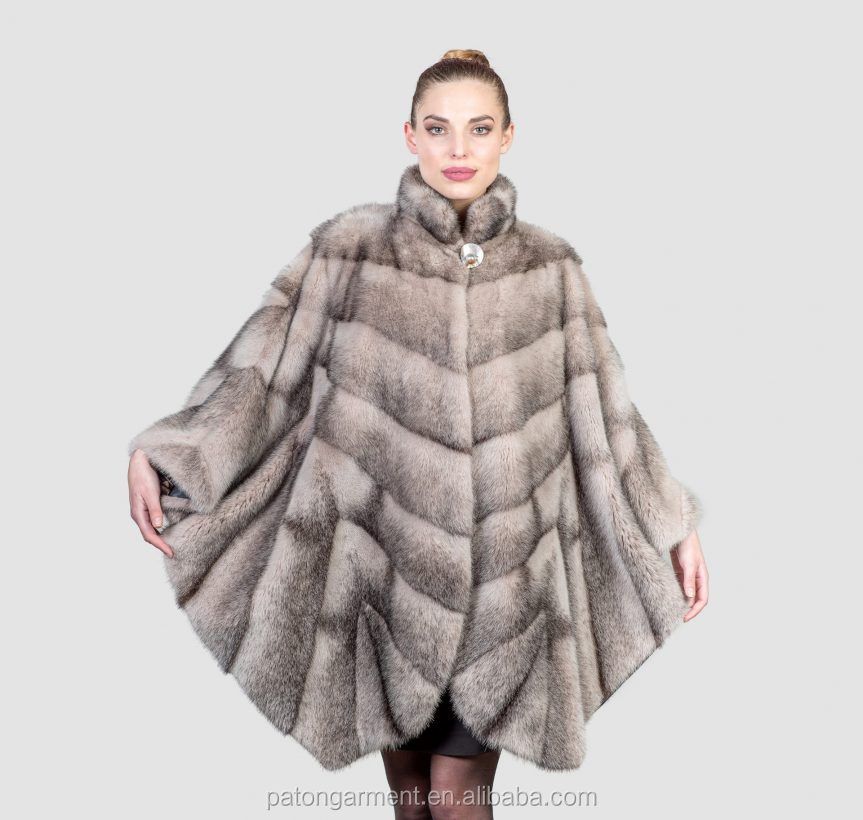 Custom loose designing lines ladies real mink fur coats cape