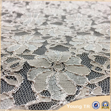 New design white beaded heavy stretch lace fabric