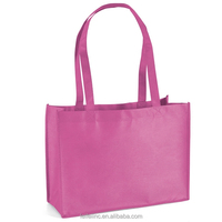 Recycled pp non woven gift tote bag, nonwoven material pink shopping bag