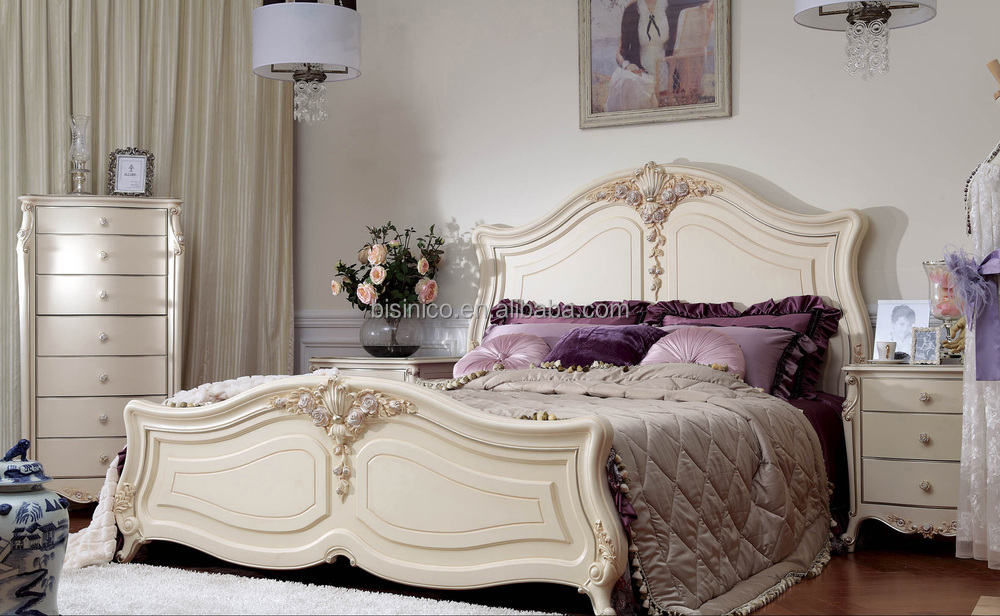 French Style Wooden Headboard Bedroom Furniture Solid Wood Frame Hand Carved
