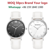 WHITE LEATHER japan movt quartz watch stainless steel back woman watches