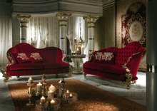 European Romantic Designed Bright Red Chesterfield Sofa and Decoration Item Set