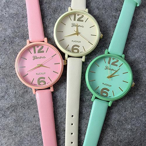 High Quality Women's Geneva Candy Jelly Color Faux Leather Quartz Analog Dress Wrist Watch  8JWB
