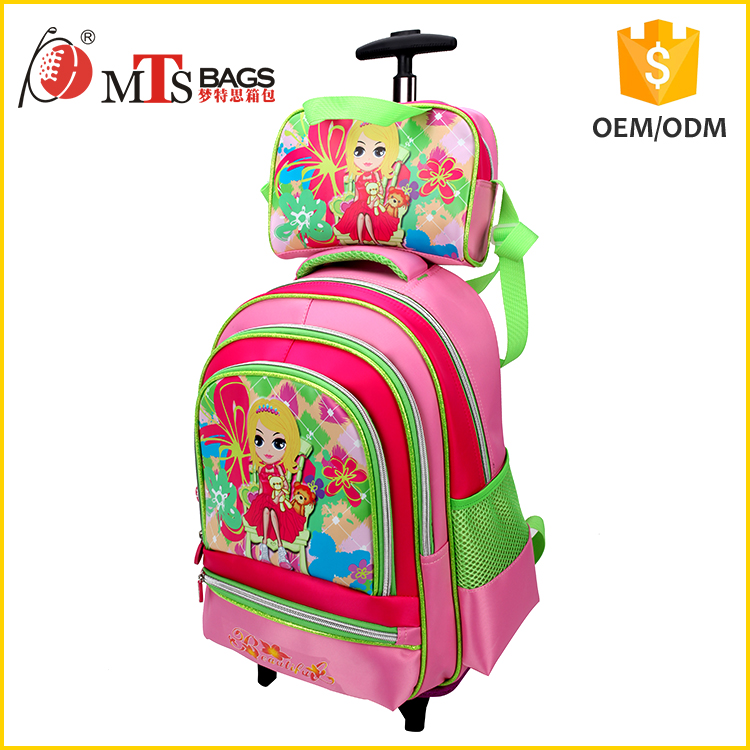 lovely girls beautiful flower cartoon picture Polyester material kids bag combo lunch bag & Trolley school bag for girls