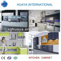 high gloss kitchen cabinets with precut granite countertops