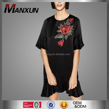 2017 Wholesale Women Loose Long T-shirt Dress Short Sleeves Floral Embroidery Dress Soft T-shirt Clothing