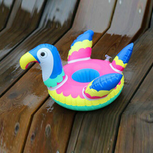 2018 NEWEST custom plastic hot selling flower printing eco-friendly colorful parrot Inflatable floating drink Holder