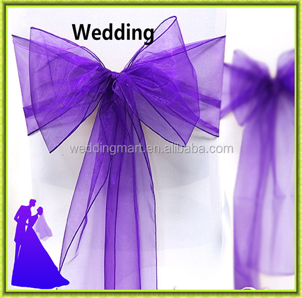 Purple organza chair cover sash factory