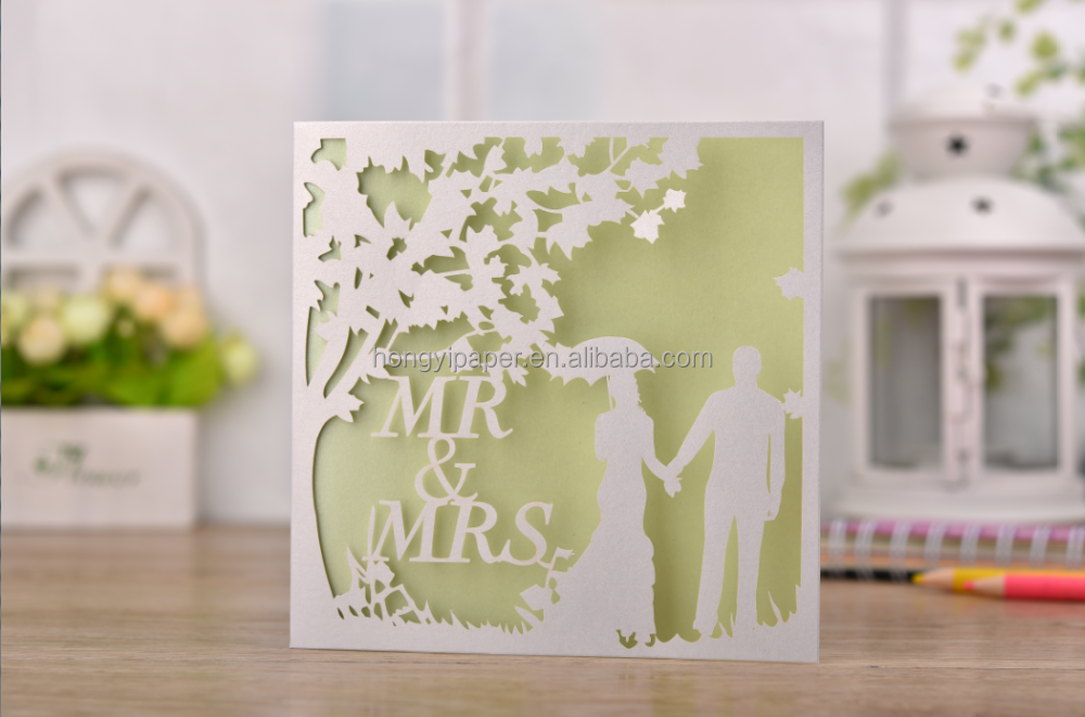 free sample Laser Cut eid English Europe wedding invitations cards, blank wedding invitation cards printing models CW0090