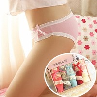 3519 one boxers 5 pcs mix colors lovely young girls wearing underwear cotton wholesale panties