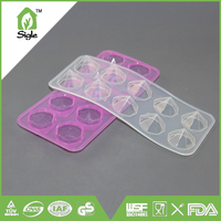 2016 hot selling food grade custom 10 cups diamond silicone candy mold chocolate ice tray