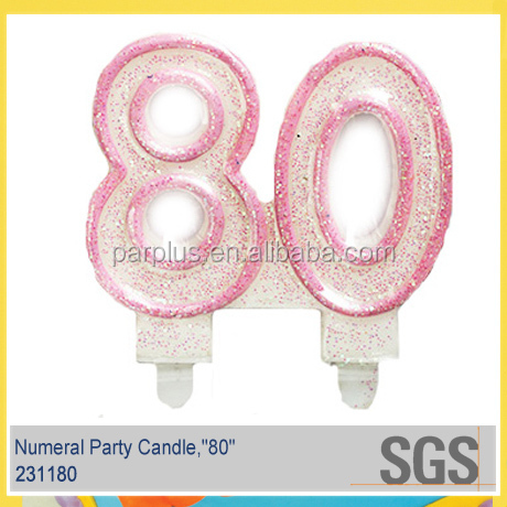 Amazing high quality happy birthday candle number 80