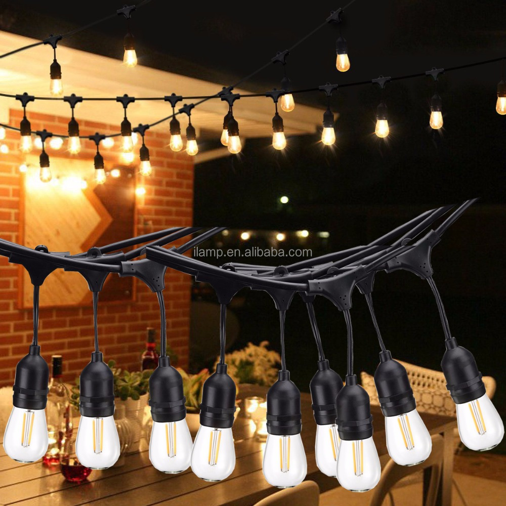 String Lights weatherproof Commercial Light 49 ft Garden Rope Lights with 15 Bulbs
