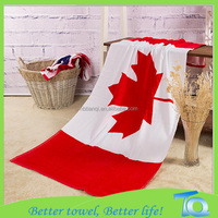 China Factory Customized Reactive Printed Flag Cotton Beach Towel