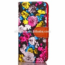 High quality PU Leather sublimation flower flip phone cover for iphone 7