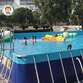 Above Ground Rectangular Steel Frame Swimming Pool Pvc Swimming And Gaming  Water Pool For Sale - Buy Plastic Water Pool,Outdoor Swimming Pools For ...