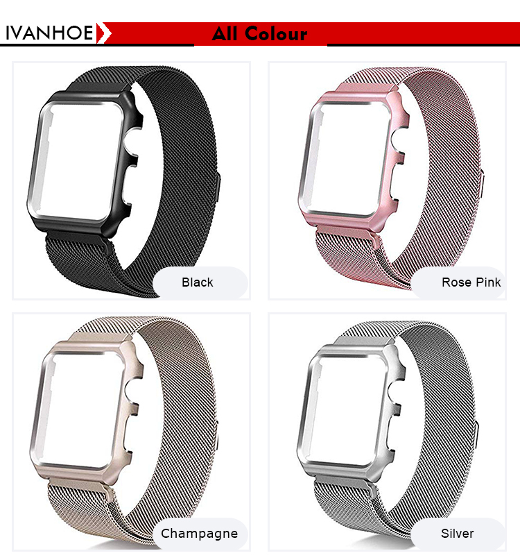 IVANHOE For Apple Watch Band Series 4 3 2 1 with Case,Milanese Loop Stainless Steel with Metal Protective Cover Frame Bands Repl