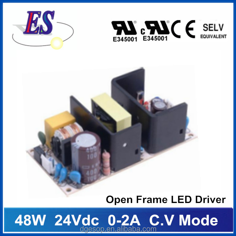 48W 0-2A 24Vdc Open Frame Constant Voltage LED Driver Power Supply ,UL CE CB