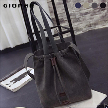 Shop Online Korean Design Canvas Plain Color Drawstring Sling Bag