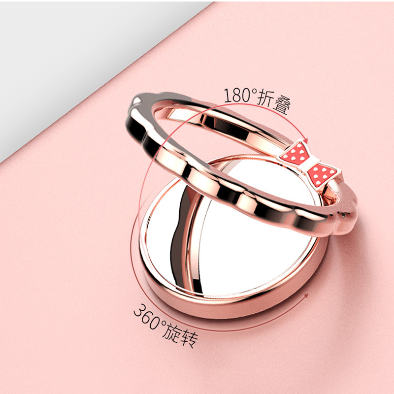 360 rotation metal alloy mirror design finger grip butterfly mirror ring mobile wrist cell phone holder for phone