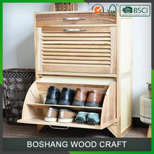Double Layers Light Color Wood Shoe Cabinet