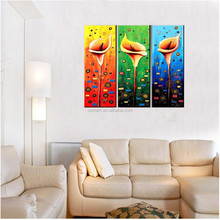 Hand Painted Modern Lily Flower Pictures On Canvas Oil Painting