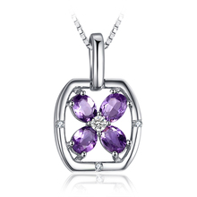 JewelryPalace Flower 0.5ct Oval Genuine Purple Amethyst Pendant 925 Sterling Silver