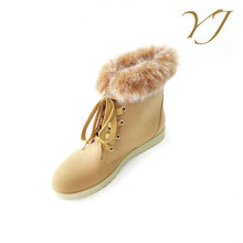 OEM orders acceptable ladies lace up leather winter ankle fur boots