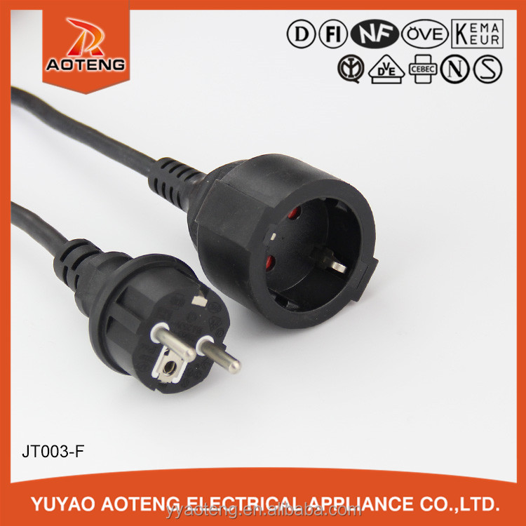 EU VDE 3 pin black male and female IP44 plug socket european waterproof power extension cord