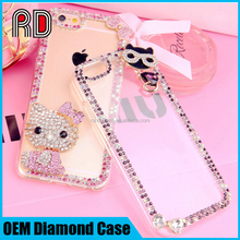 OEM cute kitty cat rhinestone phone shell, factory wholesale diamond phone case for mobile phone