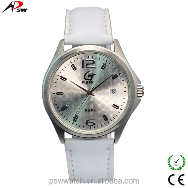 PSW fashion aluminum case white leather strap watches for men