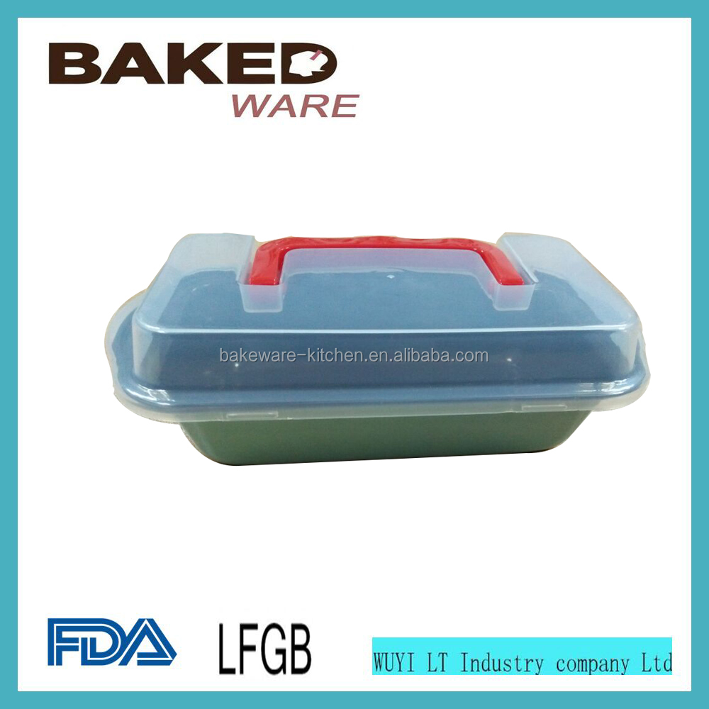Non Stick Coating Baking Bread Pans Blue Loaf Bread Pan With Plastic Cover