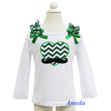 St Patricks Day Chevron Heart Mustache Polka Dots White Long Sleeves Top 3M-7Y