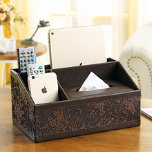 Vetro Classic Rectangular Leather Multifunction Tissue Box Pen Pencil Paper Remote Control holders cases home desk organization