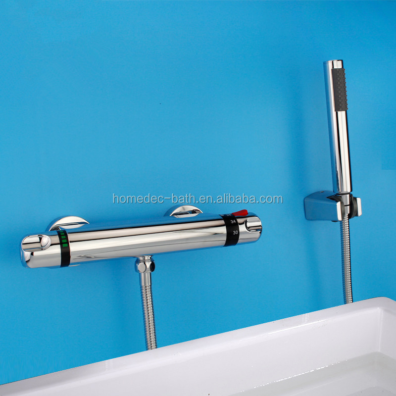 Double holes single lever bathroom sink faucet with polished chrome finshing long spout bathtub faucet