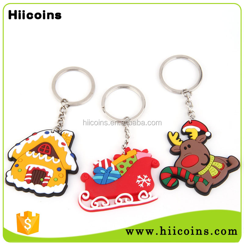 Factory Direct Sale 2016 Christmas Holiday Soft Rubber PVC Promotion Keychain