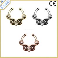 2016 Fashion Wholesale Crystal Spiral Fake Septum Nose Ring