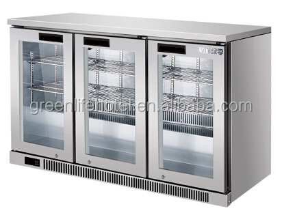 LVNI LN-300L stainless steel glass door bar fridge/soft drink back bar cooler