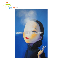 handpainted art oil painting(chinese smoking woman)