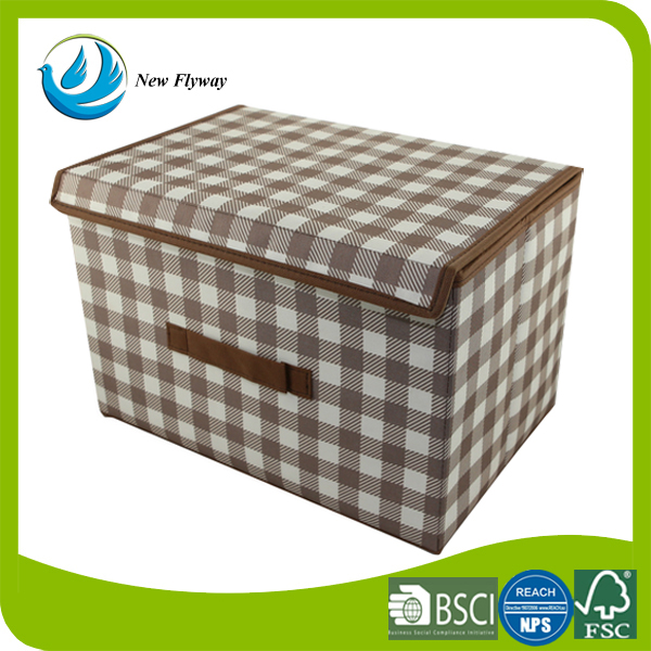 Household Living Room Essentials Large Storage Box, Natural Oxford Foldable Drawer with Brown Trim
