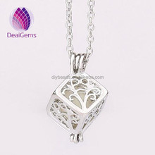 wholesale luminous pearl openable hollow cube cage alloy pendant <strong>necklace</strong>