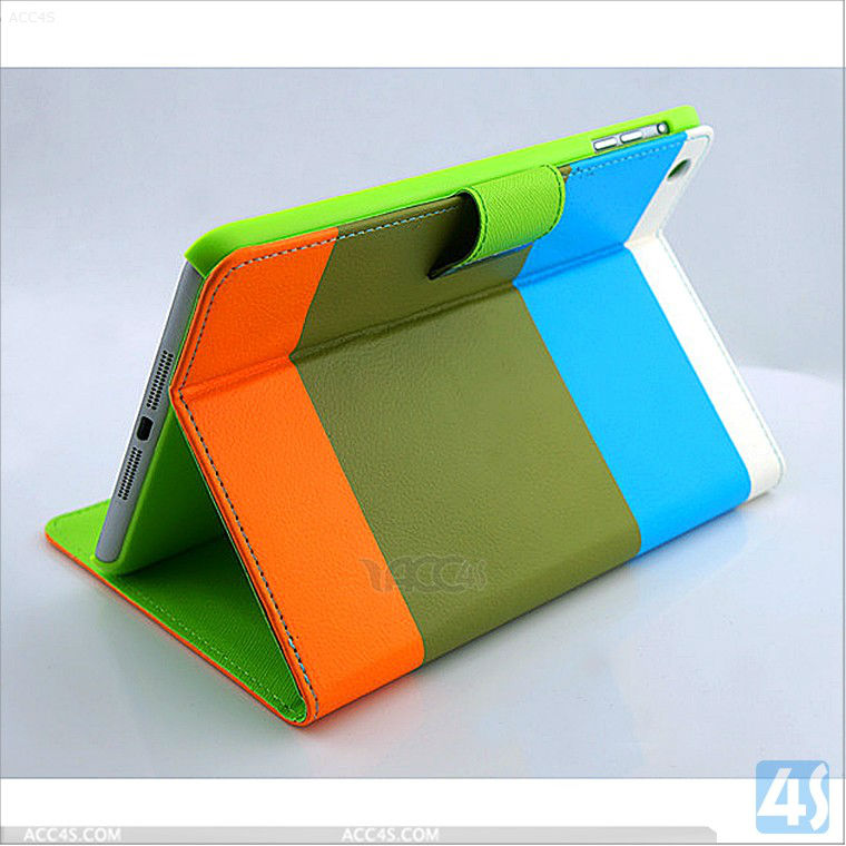 For ipad leather case Mix-Color PU Leather Case Cover Stand P-iPDMINICASE116