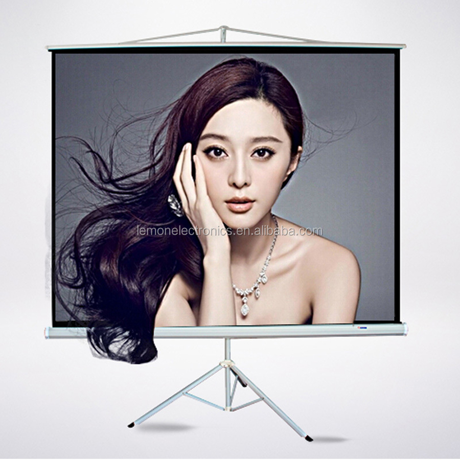 Portable rear fast folding tripod stand projector screen