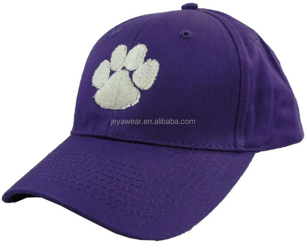 NWT Paw Print Hat Purple Baseball Cap White Mascot Wolves Tigers Lions Monogram Street Baseball Caps